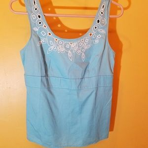 LOFT Blue W/ White Embroidery Empire Bust Top 6
